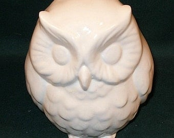 Hootie - Ceramic Owl Figurine  or Coin Bank -   Classic White