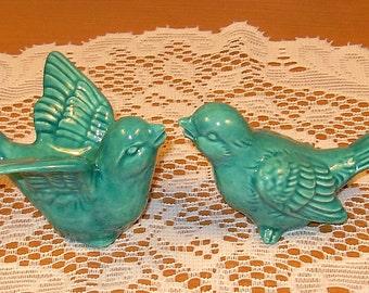 "Love Birds Wedding Cake Topper   -   ""Sea Mist Green"" glaze"