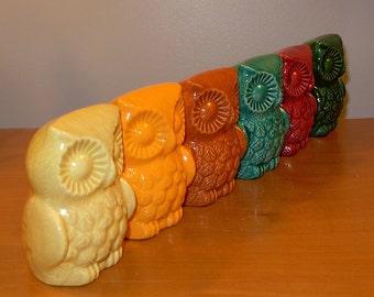 Ceramic Owl Figurine  -  Orange