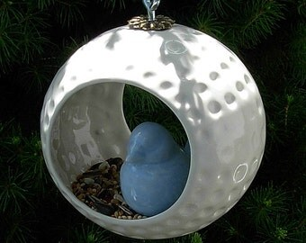 Hanging Bird Feeder / Air Planter  -  Classic White Glaze