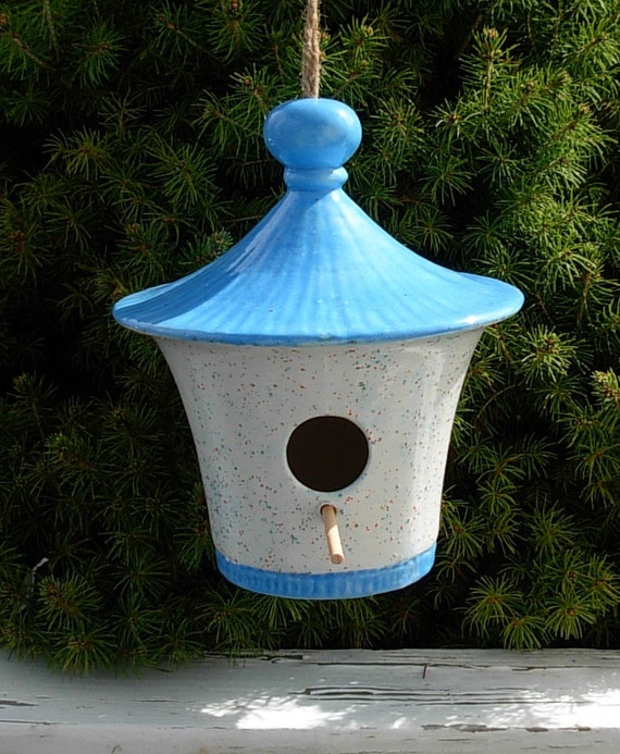 Hanging Bird House - White with Sky Blue Roof