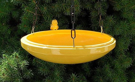 Hanging Bird Feeder Bird Bath Yellow By Ceramicsbylisa