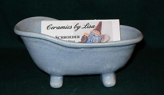 Bathtub Business Card Holder / Ceramic Bathtub Soap Dish / Bathtub Candy Dish / Bathtub Planter