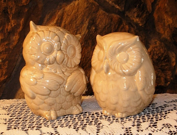 Ceramic Owl Salt and Pepper Shakers - Large Owl Salt and Pepper Shakers - Mushroom