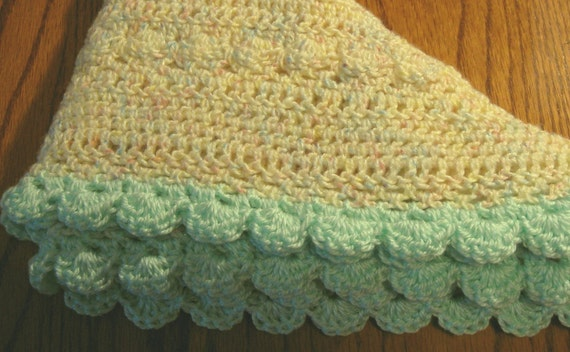 Baby Blanket Crochet Yellow and Green Afghan with Flower