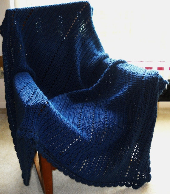 Blue Crocheted Afghan