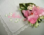 Vintage Mother's Day Hankie and Matching Pink Orchid Velvet Millinery Corsage Pin Gift Set