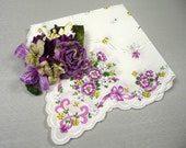 Vintage Hankie and Purple Rose Millinery Corsage Pin Gift Set
