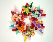 Birthday Party Favors Spun Cotton Clown Vintage Corsages 6 for Little Girls Bright Colors Circus Theme SALE