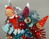 Christmas Corsage SALE Vintage Elves Retro Indent Mercury Glass Aqua Red Atomic Mid Mod Sparkle Christmas Decoration