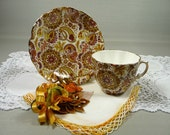 Tea Cup & Saucer Vintage Hammersley Chintz Brown Orange Yellow Paisley Bone China with Linen Hankie and Bird Corsage Pin Gift Set