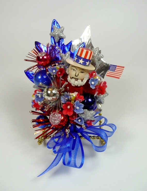 4th of July Corsage Vintage Uncle Sam Spun Cotton Mercury Glass Fireworks Red White Blue Decoration