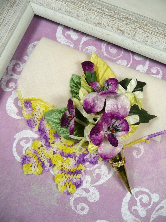 Vintage Hankie Tussie Mussie Pansy Corsage Pin Gift Set Crocheted Butterfly Purple Lavender Yellow Half Price Clearance