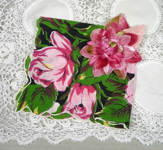 Vintage Pink Roses Hankie and Velvet Millinery Corsage Gift Set