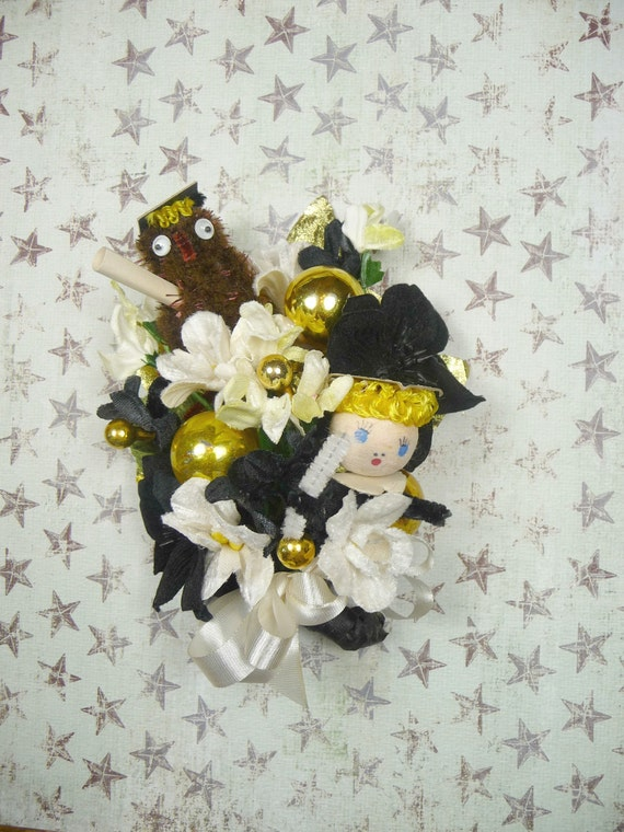 RESERVED Graduation Corsage Vintage Spun Cotton Girl Graduate with Owl and Diploma Custom Colors Available