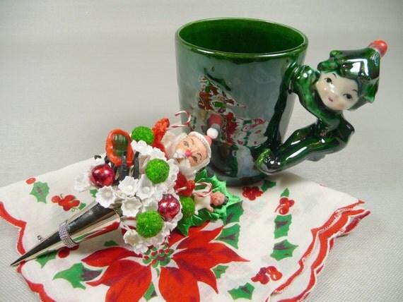RESERVED for JUDGE JUDITH Vintage Christmas Elf Mug with Hankie Spun Cotton Santa Tussie Mussie Corsage Pin Gift Set Retro Kitschy Cute