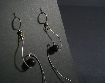 Cosmology earrings with blue goldstone - stainless steel spiral with bead