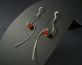 Cosmology earrings with carnelian - stainless steel spiral with bead