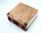 handmade journal - coptic wood book in spalted maple
