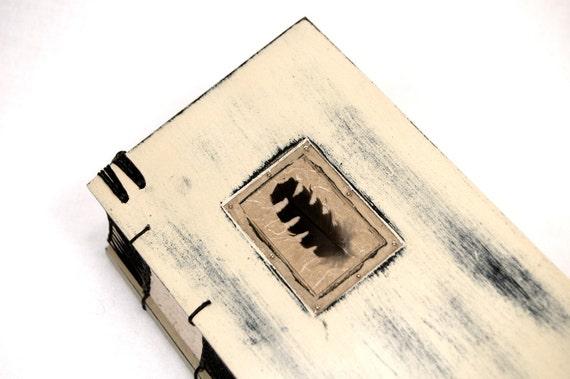 unique handmade journal wood book - black bird feather
