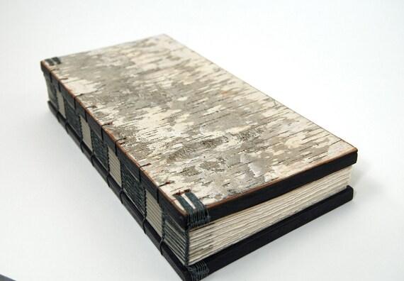 journal - white birch handmade unique wood book - large