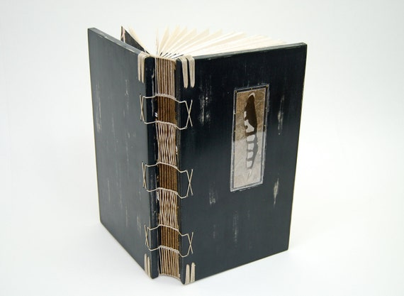 blackbird journal -unique handmade  wood book wedding guest book with black feather gothic victorian halloween - ready to ship