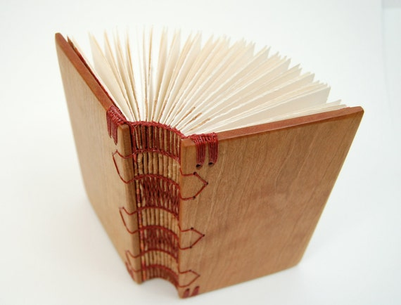 unique journal wood book in cherry - handmade small journal rustic