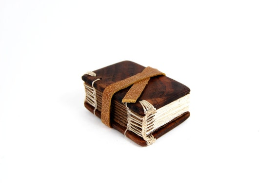 black walnut  mini journal - small handmade wood book - woodland rustic