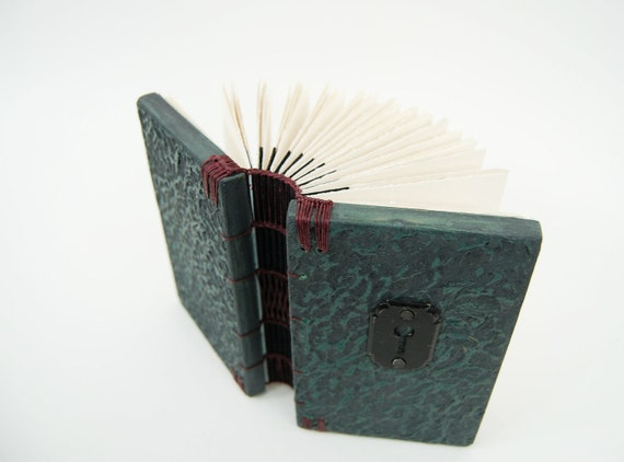 RESERVED for Lauren-  key hole gothic Victorian steampunk journal - teal black - ready to ship