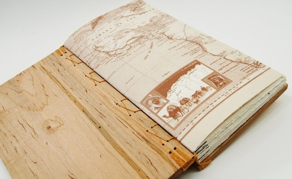handmade wood journal -  wedding guest book - vintage map - large Ambrosia Maple