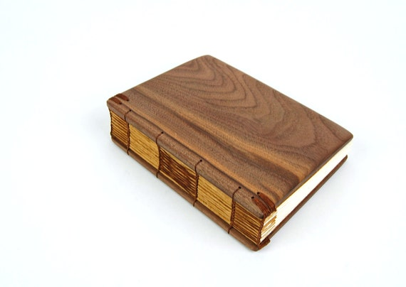 handmade journal - unique wood book  black walnut - wedding guest book - brown yellow fall  - ready to ship