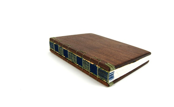 handmade journal - unique wood book in Black Walnut blue green large fall wedding guest book - ready to ship