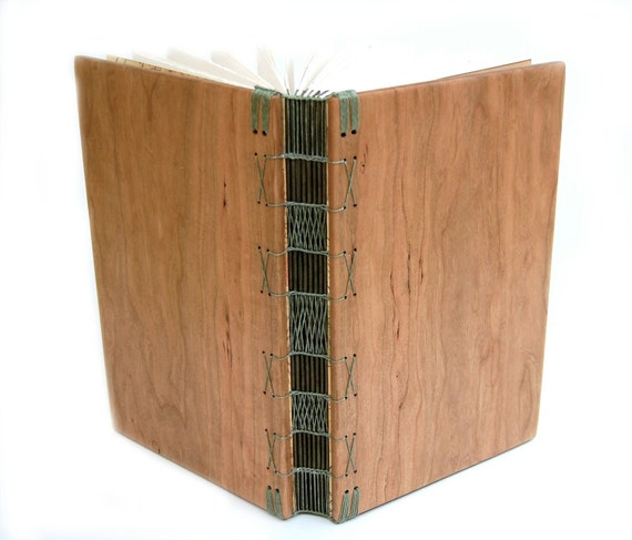 handmade wood journal or guest book - cherry - large rustic wedding guest book anniversary gift - olive green - ready to ship