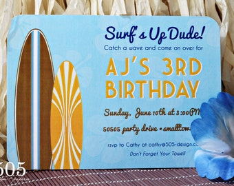 Surfing Party Invitation - Surfs Up Invitations by 505 Design, Inc