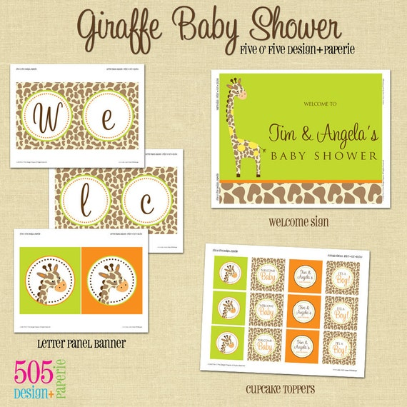 Giraffe Baby Shower Themed Party Decorations by 505design on Etsy
