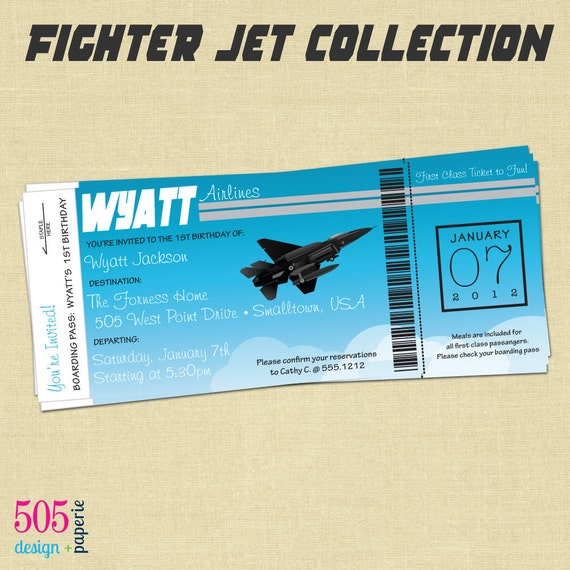 Items Similar To Fighter Jet Boarding Pass Style Invitation  Jet Fighter Inv