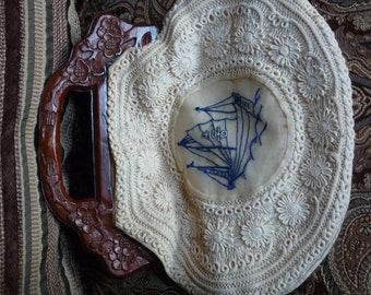 Asian motif VERY old embroidered crocheted wooden handle purse- sorry it is sideways : )