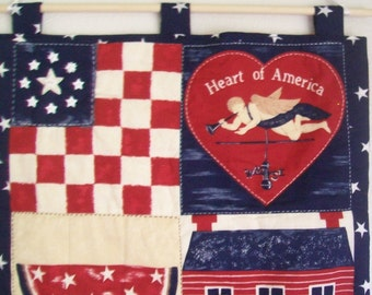 Patriotic Quilted Wall Hanging - Heart of America