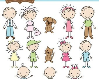 We are Family Stick Figures Clip Art