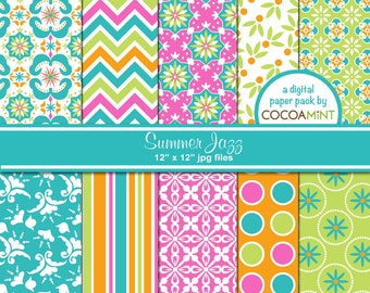 Summer Jazz Digital Papers