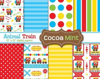 Animal Train Digital Papers