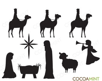 Away in a Manger Christmas Clip Art