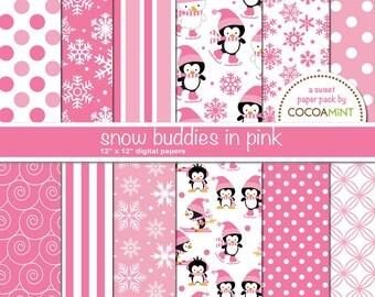 Pink Snow Buddies Digital Paper Pack