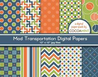 Mod Transportation Digital Paper