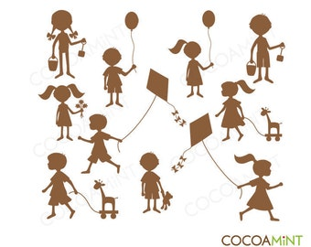 Silhouette Kids Clip Art