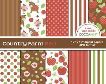 Country Farm Red Digital Papers