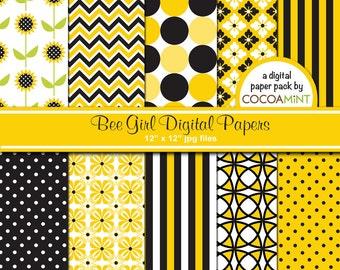 Bee Girl Digital Paper