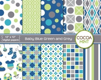 Baby Blue Green and Grey Digital Papers