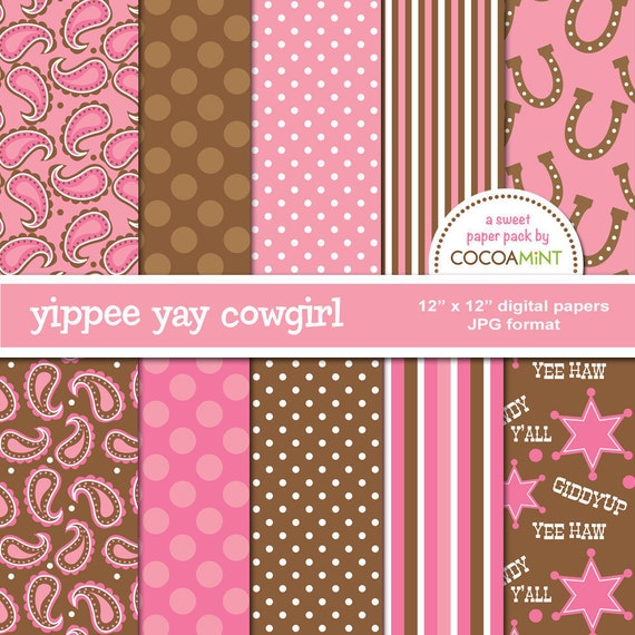 Yippee Yay Cowgirl Digital Papers