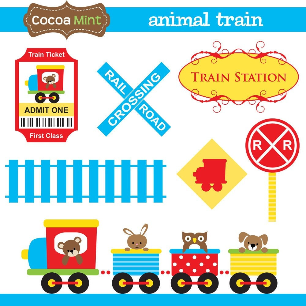 Animal Train Clip Art by cocoamint on Etsy